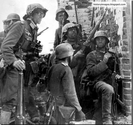 German soldiers in Stalingrad before the tide of war changed.