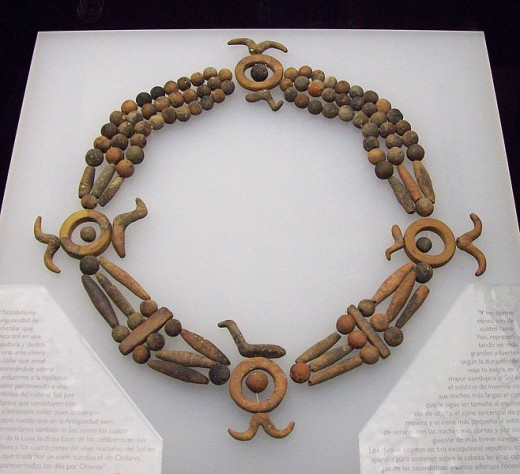 Necklace of the Priestess of Sun. Celtiberian artwork of religious symbolism. 4th century BC Medium	terracotta
