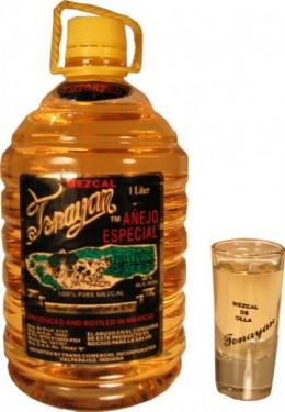 """Bottle of """"anejo,"""" or aged, mezcal"""