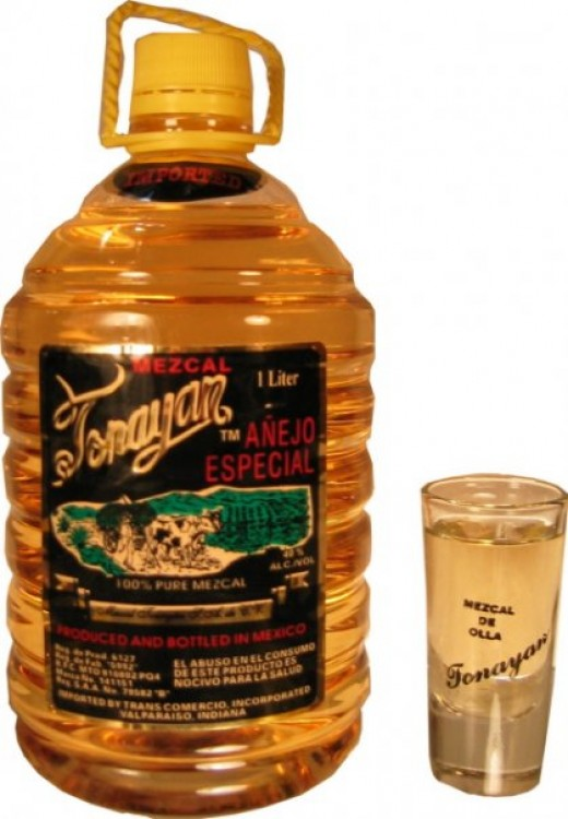 "Bottle of ""anejo,"" or aged, mezcal"