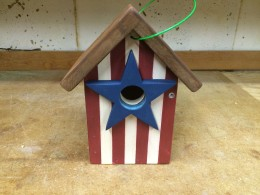 Handcrafted American Flag Birdhouse