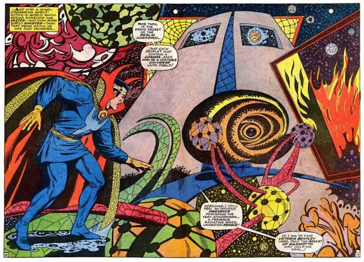 This is how Steve Ditko saw Strange.  (Pictured art by Tom Palmer and Dan Adkins).