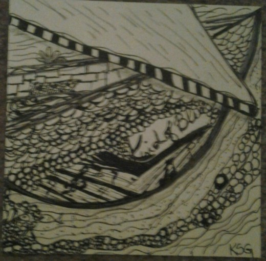 A Zentangle drawing of a boat belonging to a neighbor's brother