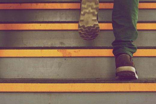 Taking the stairs instead of the elevator is good for your health and the environment.