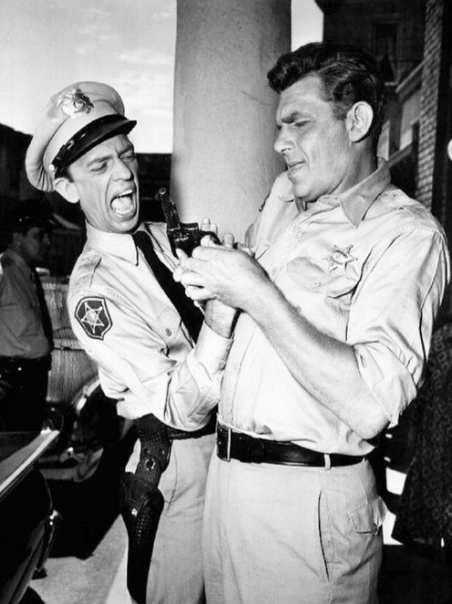 "(L-R) Don Knotts, ""Barney Fife,"" and Andy Griffith, ""Andy Taylor,"" were the two principal characters of The Andy Griffith Show."