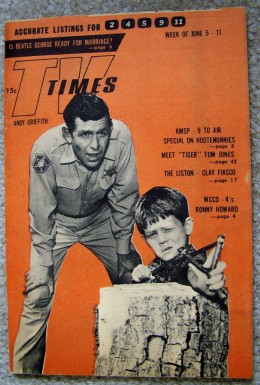 June 5, 1965  ANDY GRIFFITH SHOW  TV TIMES guide with  ANDY GRIFFITH  and  RONNY HOWARD
