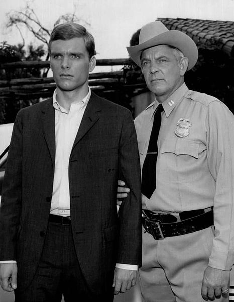 Photo of Keir Dullea (left)  and Denver Pyle from the  television program  Kraft Mystery Theatre Pyle was known for Brisco Darling on The Andy Griffith Show