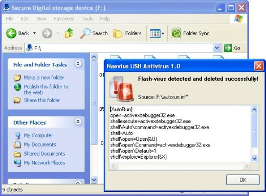 Snapshot of Naevirus USB Antivirus Active Protection