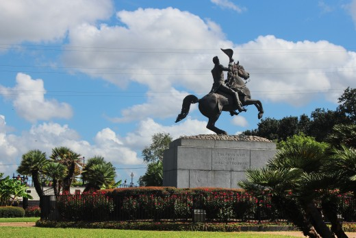 Statue of Andrew Jackson located in the center of Jackson square