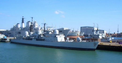 Royal Navy warship docked in Portsmouth