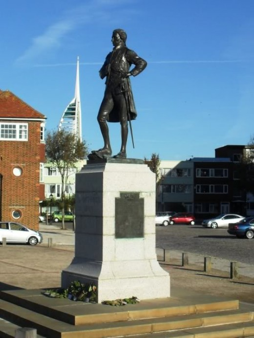 Statue of Lord Nelson who fought the French at the battle of Trafalgar