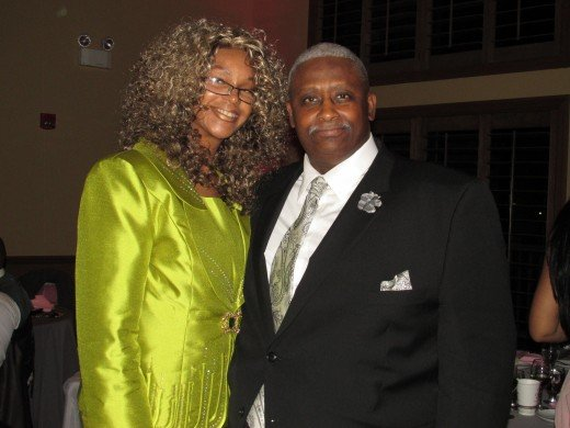 The speaker Joseph Johnson, gave the talk at the wedding of Darlena & Raymond. He spoke about his wife Joyce Johnson featured in this photo. The wedding ceremony was given at Kingdom Hall of Jehovah's Witnesses in Camden, NJ.