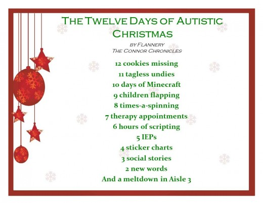 Christmas with a child with autism and enterocolitis can be  very difficult at times.