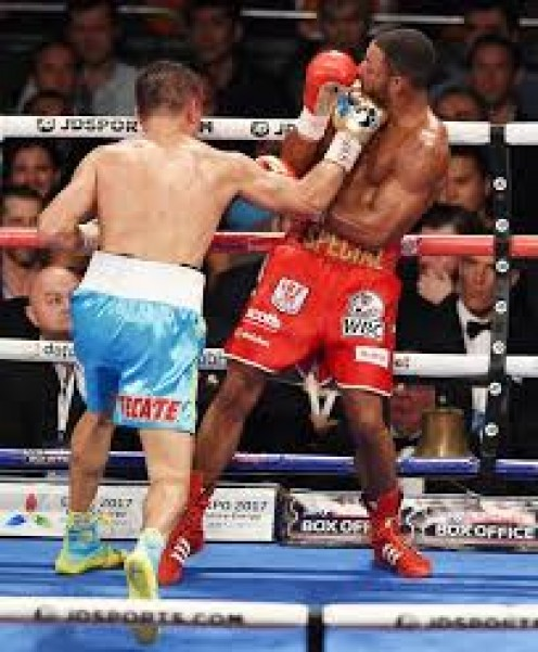 Gennady Golovkin scored a TKO in his fight with Welterweight titlist Kell Brook in defense of his middleweight championship.