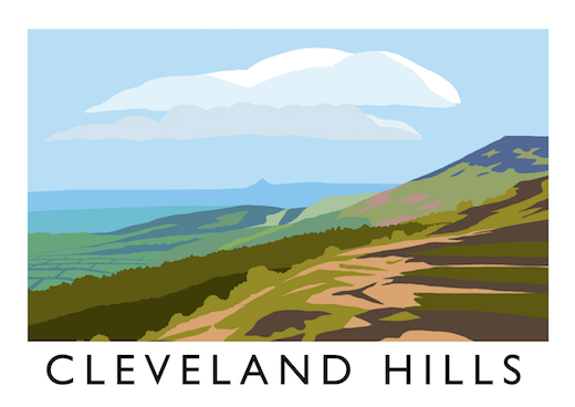 Poster advertising at its best shows off the Cleveland Hills looking eastward from near Whorlton to Roseberry Topping (centre, distant). This conical hill overlooks the railway near Great Ayton that links Battersby with Nunthorpe.