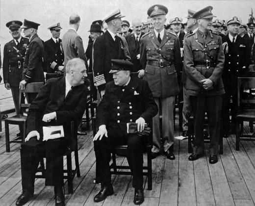 Roosevelt and Churchill sign the Atlantic Charter off the coast of Canada, 1941.