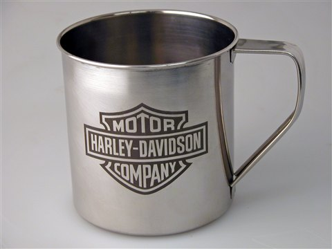 This stainless mug was engraved using a special chemical solution