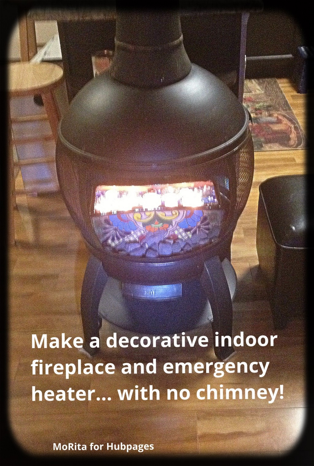 make a decorative indoor fireplace and emergency heater without a