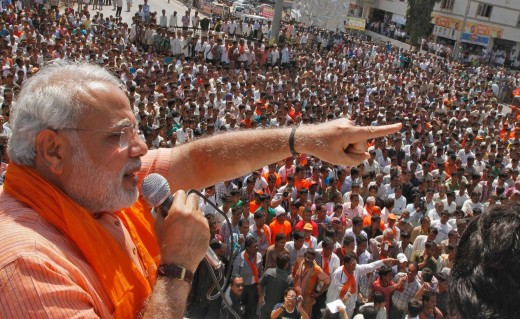 Modi addressing people in a rally