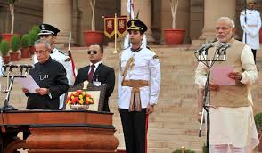 Narendra Modi swearing in as Prime Minister of India