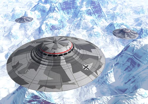 An artist depiction of Nazi spacecraft flying over a frozen wasteland . . . perhaps Antarctica?