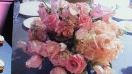 The beautiful bridal bouquet was featured on the table at the reception.