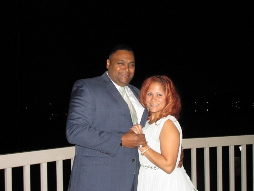 Wallie and her husband Andre, took this photo outside on the deck of the Camden County Boathouse, where the reception was held, in the midst of the Super Moon.