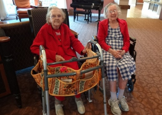 Catherine and Louise, both in their nineties, share a room at the Skilled Nursing Home