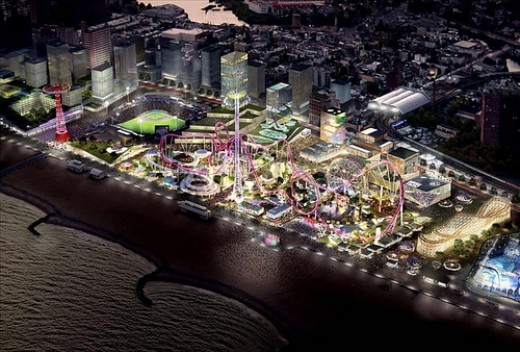 "This is a 2007 artist's rendition of the vision of a new Coney Island, now possible under ""Recover New York."" Thousands of new jobs and housing units, along with nearly 30 acres of theme park and businesses by 2012. [NYC EDC /AP, Nov. 8, 2007]."