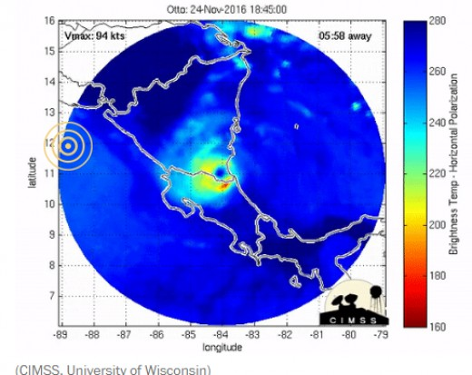 Location of hurricane Otto (southeast corner of Nicaragua) at one minute after a 6.9 magnitude earthquake occurred (bulls eye representing the epicenter) under the ocean off the west coast of Central America.