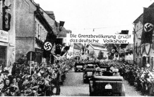German troops arrive in Czechoslovakia in 1938.