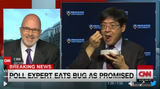 Poll expert Sam Wang fulfilling his overzealous terms of eating a bug if Trump got more than 240 electoral votes (try 306 to Clinton's embarrassing 232 Sam).