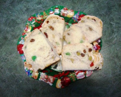 Sweet bread on plate for Christmas.
