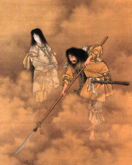 Izanagi and Izanami, the divine progenitor gods of Shintoism, during better times.