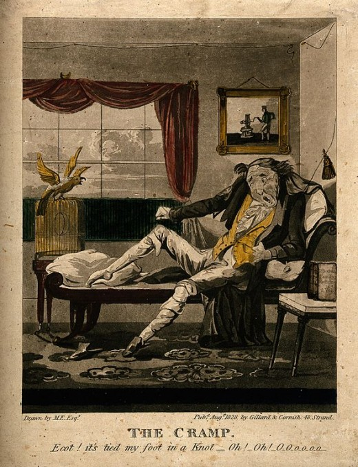 Cartoon of a man suffering with leg cramp.