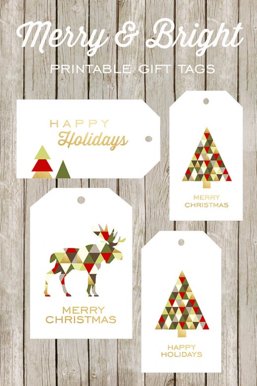 Holiday colors decorate these printable gift tags - just what you need for the holiday gift wrapping.