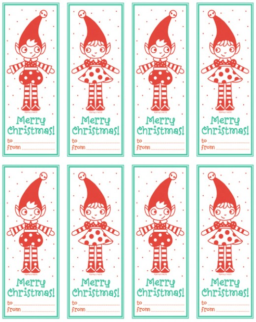 Are you into elves?  Here are some adorable elf gift tags for your packages.