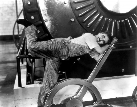 "Publicity shot from Charlie Chaplin film, ""Modern Times"" (1936)."
