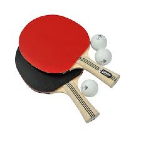 2 to 4 players use paddles to hit ping pong balls across the net on a ping pong table.