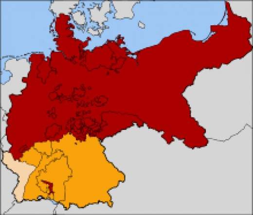 The Kingdom of Prussia is in red.