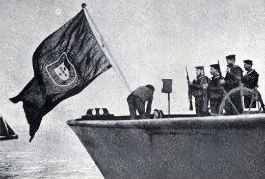 Portuguese flag flying on the German ship Energie