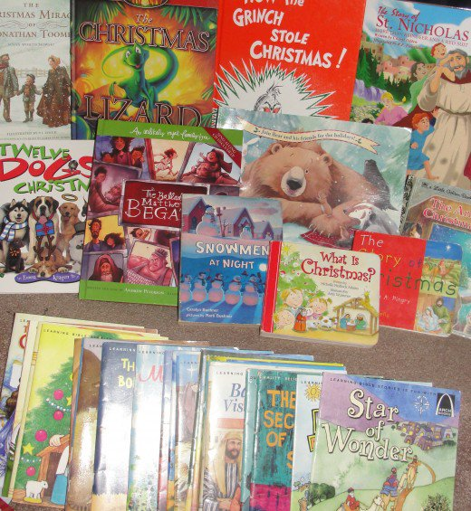 Some of our favorite Christmas books for children. The Arch Books series (the row in the front) has a wonderful selection of variations of the Christmas story written in individual books that are perfect for young listeners.