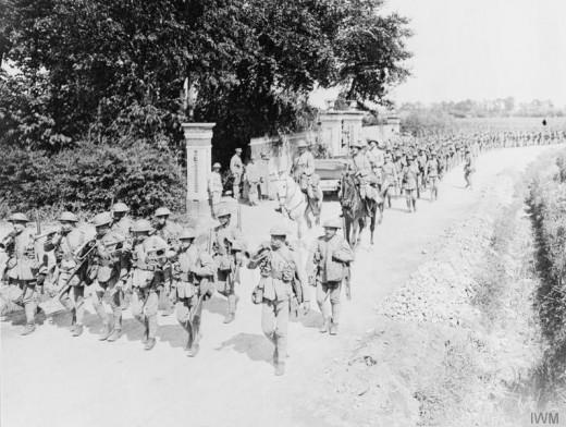 Portuguese infantry battalion on a route march, near Locon, 24 June 1917.