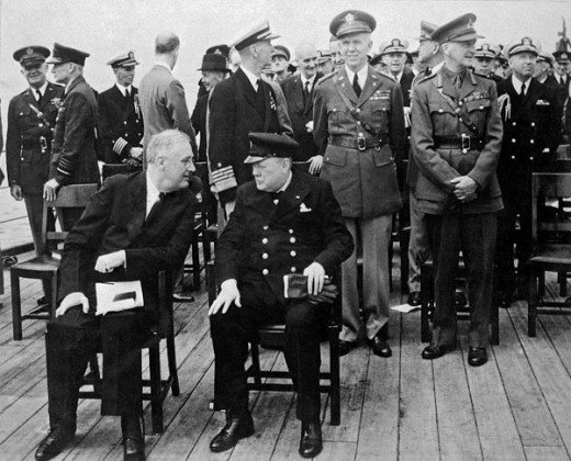 Churchill and Roosevelt meet aboard the fated HMS Prince of Wales off Newfoundland