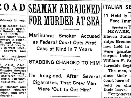 Newspaper clipping evident of the marijuana scare of the times.