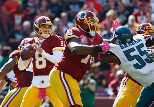 Philadelphia Eagles DE Brandon Graham (R) and the rest of his Eagles teammates will need to actually sack a QB for a change this week