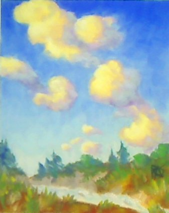 Clouds -- a pastel painting on sanded Wallis pastel paper by Robert A. Sloan.