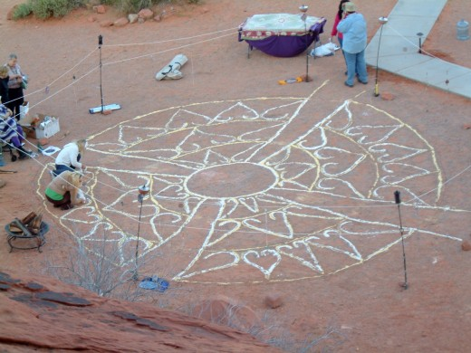 Elaborate sand paintings, called rangoli after the Hindu tradition, are sometimes used in Western ceremonies.