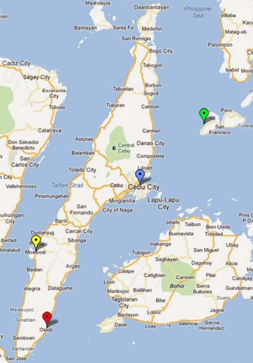 Island of Cebu and Camote (upper right)