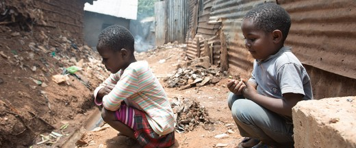 Children affected by poverty. The picture shows Abdu and his little brother Duma who live in Kibera, the largest urban slum in Africa.